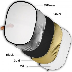 Fotodiox Pro 48'x72' Premium-grade Oval Reflector, 5-in-1 Collapsible Disc