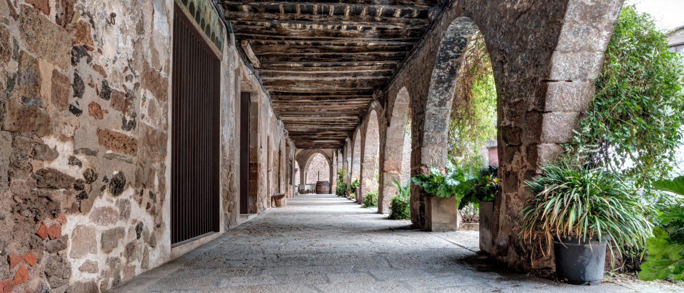The Arcade of The Plaça Major (Santa Pau, Catalonia)