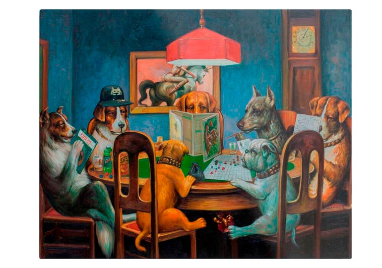'Dogs Playing D&D' Metal Print by Johannes Grenzfurthner