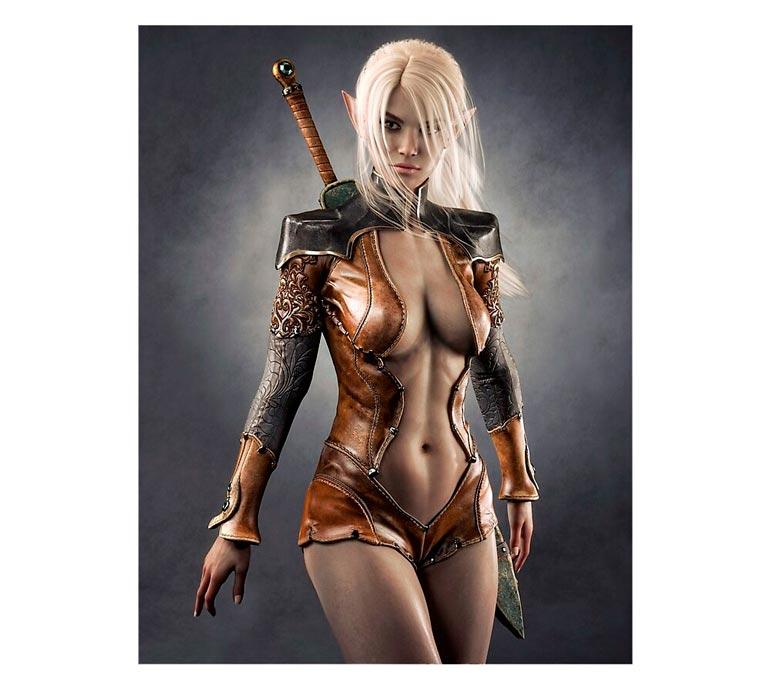 'Fantasy Dark Elf Female Warrior' Photographic Print  by DigitalStorm