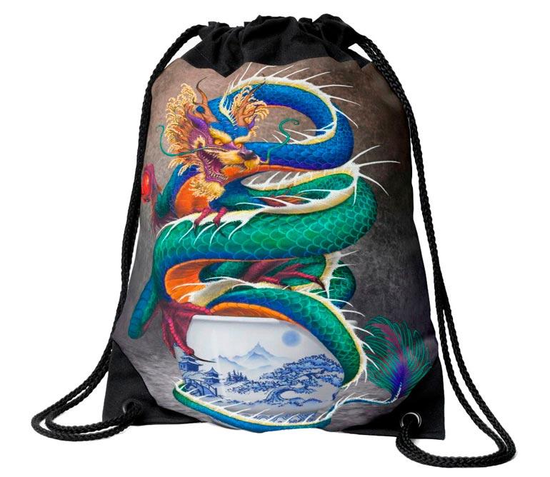 'Sake Dragon in a Porcelain Cup' Drawstring Bag  by Stanley Morrison